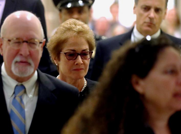 Former U.S. ambassador to Ukraine Marie Yovanovitch arrives to testify in the U.S. House of Representatives impeachment inquiry into U.S. President Trump on Capitol Hill in Washington, U.S., October 11, 2019. REUTERS/Jonathan Ernst
