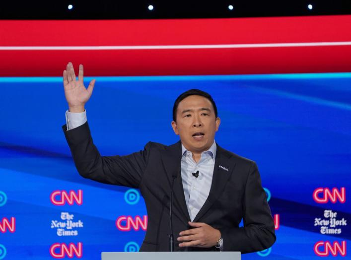 Democratic presidential candidate entrepreneur Andrew Yang speaks during the fourth U.S. Democratic presidential candidates 2020 election debate in Westerville, Ohio, U.S., October 15, 2019. REUTERS/Shannon Stapleton