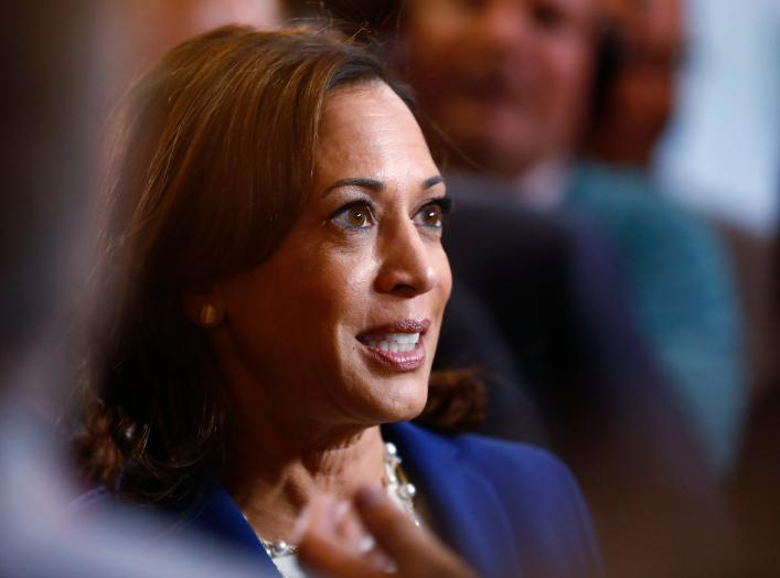 Democratic presidential candidate Senator Kamala Harris arrives in the Spin Room to talk to reporters after the conclusion of the fourth Democratic U.S. 2020 presidential election debate at Otterbein University in Westerville, Ohio October 15, 2019.