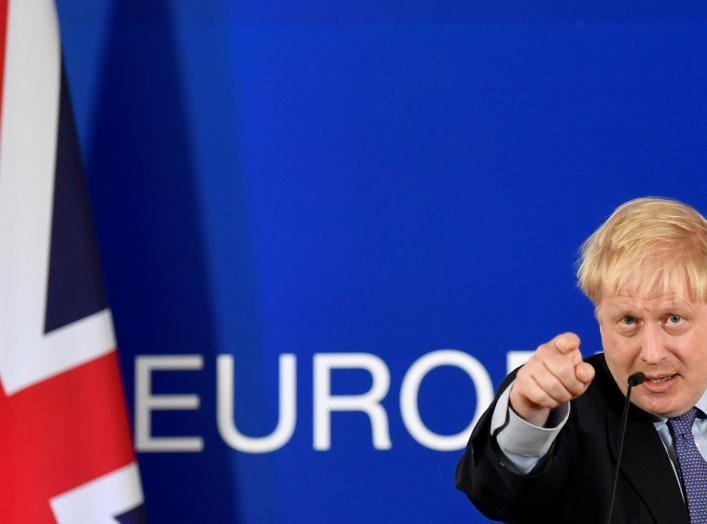 Britain's Prime Minister Boris Johnson gestures during a news conference at the European Union leaders summit dominated by Brexit, in Brussels, Belgium October 17, 2019. REUTERS/Toby Melville