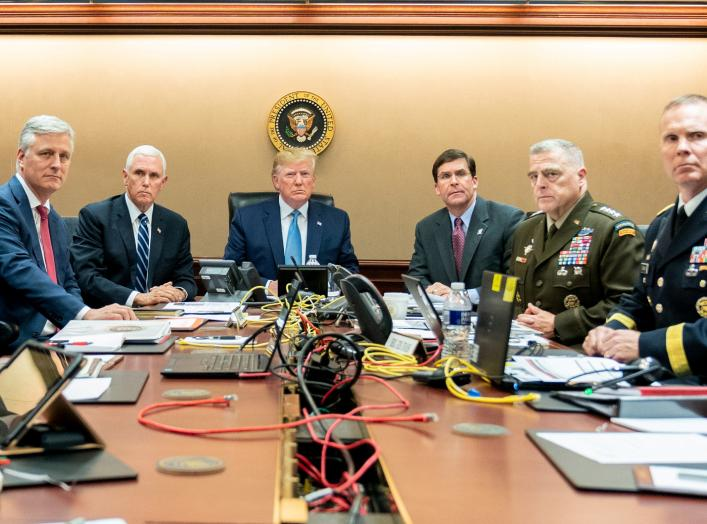 U.S. President Donald Trump, U.S. Vice President Mike Pence (2nd L), U.S. Secretary of Defense Mark Esper (3rd R), along with members of the national security team, watch as U.S. Special Operations forces close in on ISIS leader Abu Bakr al-Baghdadi