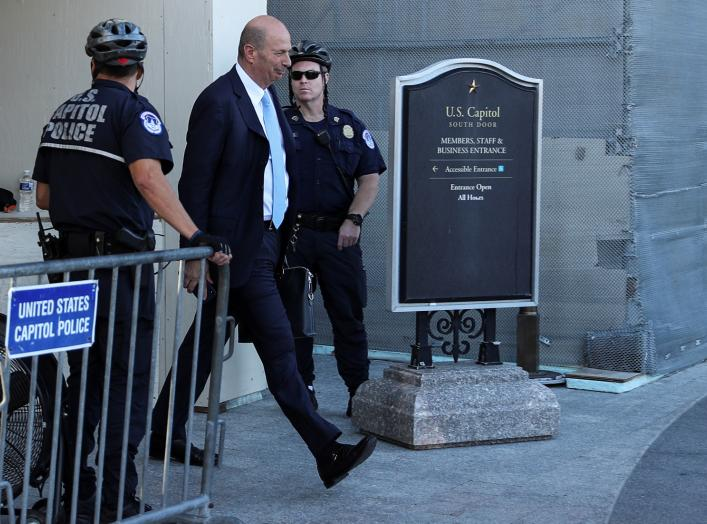 U.S. Ambassador to the European Union Gordon Sondland departs after testifying at a closed-door deposition as part of the U.S. House of Representatives impeachment inquiry into U.S. President Trump