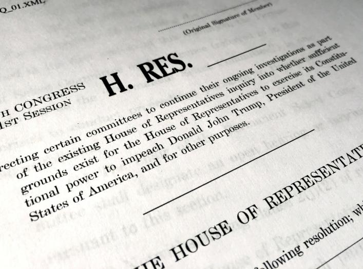 A draft of a U.S. House of Representatives resolution formally laying out the next steps in the Democratic impeachment inquiry of President Donald Trump, authorizing public committee hearings and the public release of transcripts of closed-door deposition