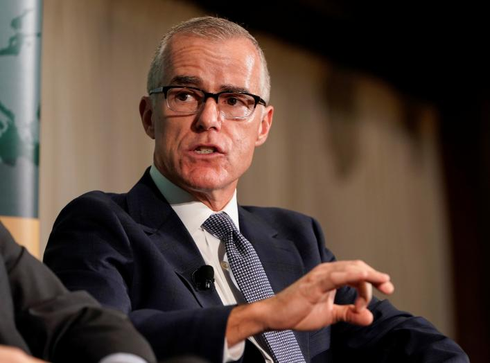 "Former acting FBI director Andrew McCabe speaks during a forum on election security titled, ""2020 Vision: Intelligence and the U.S. Presidential Election"" at the National Press Club in Washington, U.S., October 30, 2019. REUTERS/Joshua Roberts"