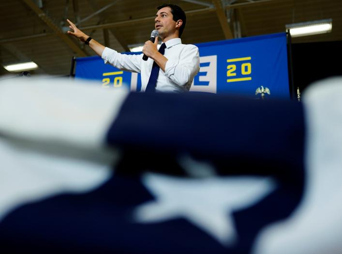 Pete Buttigieg, South Bend Mayor and Democratic presidential hopeful, speaks at a campaign event at Saint Ambrose University in Davenport, Iowa, U.S. September 24, 2019. REUTERS/Elijah Nouvelage