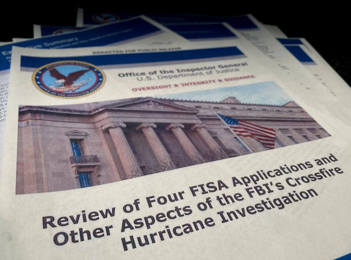 "The U.S. Justice Department's Inspector General Michael Horowitz's report entitled ""Review of Four FISA Applications and Other Aspects of the FBI's Crossfire Hurricane Investigation"" about the origins of the FBI's investigation"
