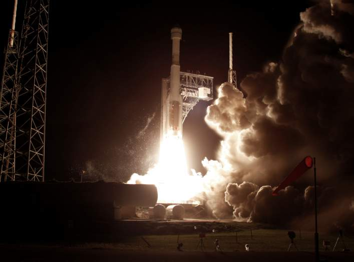 The Boeing CST-100 Starliner spacecraft, atop a ULA Atlas V rocket, lifts off for an uncrewed Orbital Flight Test to the International Space Station from launch complex 40 at the Cape Canaveral Air Force Station in Cape Canaveral, Florida December 20, 201
