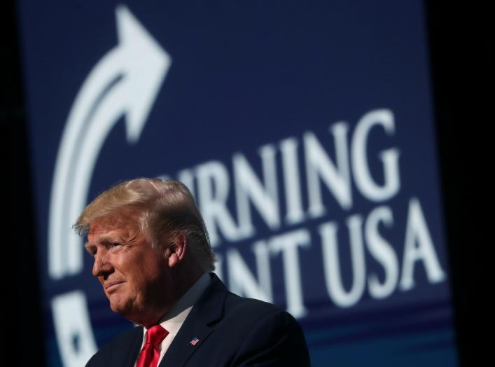 U.S. President Donald Trump delivers remarks at the Turning Point USA Student Action Summit at the Palm Beach County Convention Center in West Palm Beach, Florida, U.S. December 21, 2019. REUTERS/Leah Millis