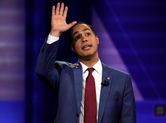 Democratic 2020 U.S. presidential candidate Julian Castro gestures during a televised townhall on CNN dedicated to LGBTQ issues in Los Angeles, California, U.S. October 10, 2019. REUTERS/Mike Blake