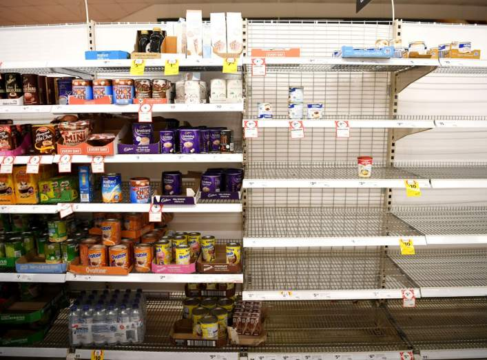 Long-life milk supplies run out at a supermarket which has power in Batemans Bay, NSW, Australia January 5, 2020. REUTERS/Tracey Nearmy
