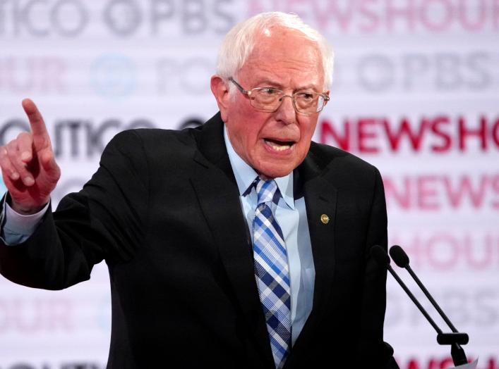 FILE PHOTO: Senator Bernie Sanders speaks during the sixth 2020 U.S. Democratic presidential candidates campaign debate at Loyola Marymount University in Los Angeles, California, U.S., December 19, 2019. REUTERS/Mike Blake/File Photo