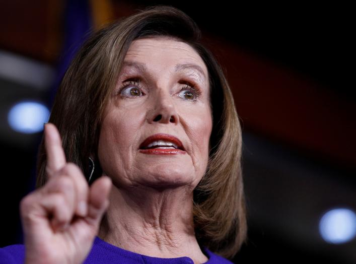 U.S. Speaker of the House Nancy Pelosi (D-CA) speaks ahead of a House vote on a War Powers Resolution amid the stalemate surrounding the impeachment of U.S. President Donald Trump, as she addresses her weekly news conference at the U.S. Capitol
