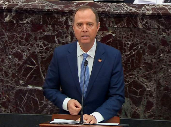 Lead manager House Intelligence Committee Chairman Adam Schiff (D-CA) speaks during opening debate at the start of the U.S. Senate impeachment trial of U.S. President Donald Trump in this frame grab from video shot in the U.S. Senate Chamber