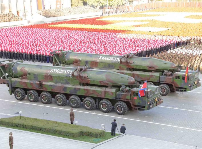 North Korean military participate in the celebration of the 70th anniversary of the founding of the ruling Workers' Party of Korea, in this undated photo released by North Korea's Korean Central News Agency (KCNA) in Pyongyang on October 12, 2015. Isolate