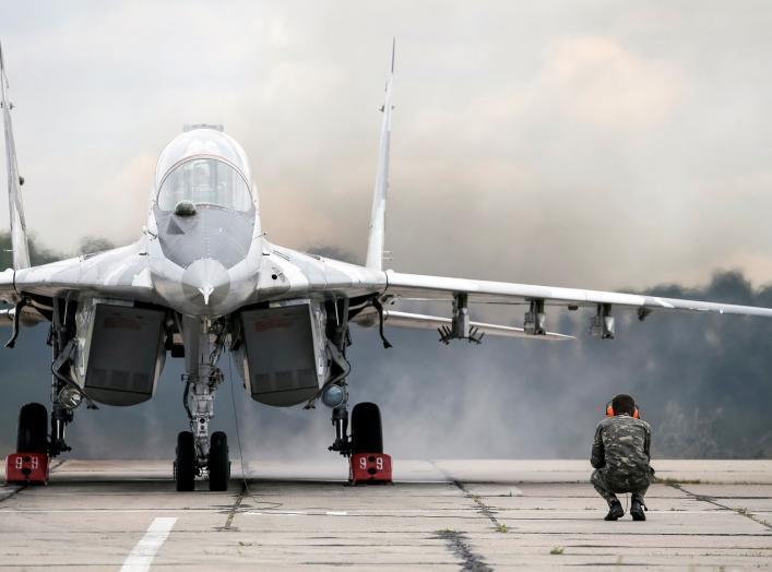 A MIG-29 fighter aircraft prepares before take off at a military air base in Vasylkiv, Ukraine, August 3, 2016. REUTERS/Gleb Garanich
