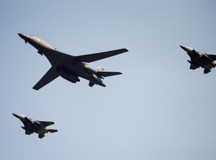 A U.S. Air Force B-1B bomber flies over Osan Air Base in Pyeongtaek, South Korea, September 13, 2016. REUTERS/Kim Hong-Ji