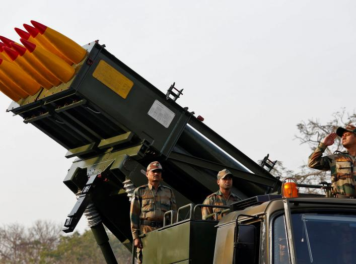 Army officers stand on Indian Army's Pinaka multi-barrel rocket launcher system during a rehearsal for Republic Day parade in Kolkata, India, January 20, 2017. India celebrates its annual Republic Day on January 26. REUTERS/Rupak De Chowdhuri