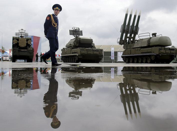 A Russian serviceman walks past the Buk-1M missile system at the Army-2015 international military forum in Kubinka, outside Moscow, Russia, June 16, 2015. REUTERS/Maxim Shemetov