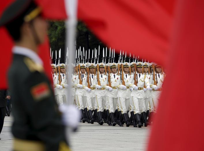 China's People Liberation Army (Navy) sailors from the honour guard march during a welcoming ceremony for Fiji's Prime Minister Josaia Voreqe Bainimarama outside the Great Hall of the People, in Beijing, July 16, 2015. REUTERS/Jason Lee