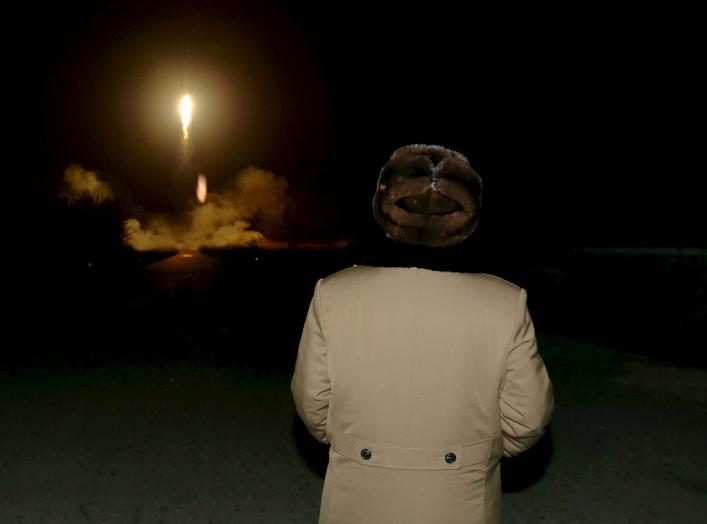 North Korean leader Kim Jong Un watches the ballistic rocket launch drill of the Strategic Force of the Korean People's Army (KPA) at an unknown location, in this undated file photo released by North Korea's Korean Central News Agency (KCNA) in Pyongyang