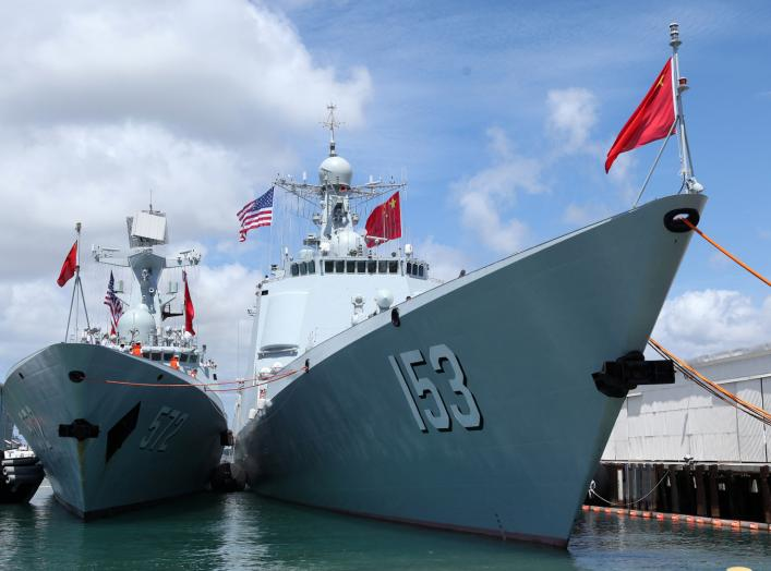 Chinese Peoples Liberation Army Naval Frigate Hengshui (L) is moored next to the PLAN ship Xi'an after arriving at the Joint Base Pearl Harbor Hickam to participate in the multi-national military exercise RIMPAC in Honolulu, Hawaii, June 29, 2016.