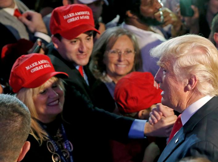 Donald Trump greets supporters at his election night rally in Manhattan. REUTERS/Carlo Allegri