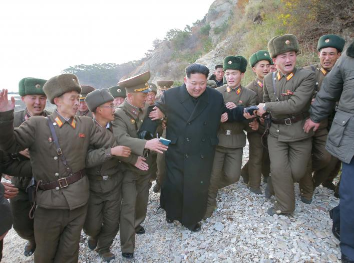 North Korean leader Kim Jong Un inspects the defence detachment on Mahap Islet in the western sector of the front in this undated photo released by North Korea's Korean Central News Agency (KCNA) in Pyongyang November 11, 2016. REUTERS/KCNA