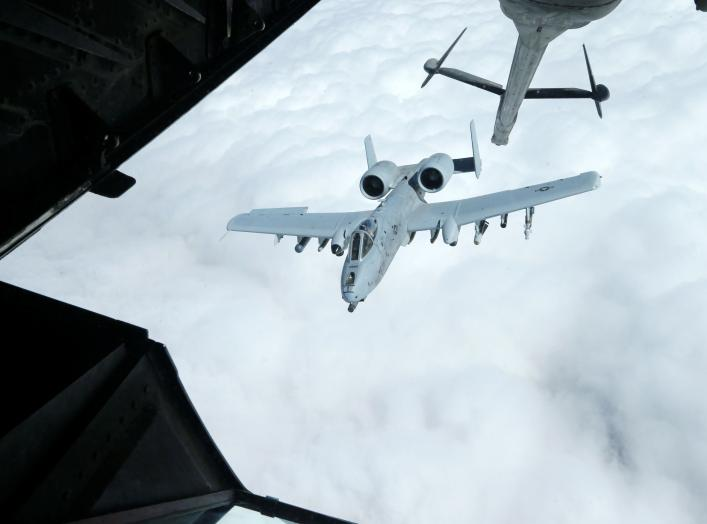 A US Air Force A-10 Thunderbolt-2 makes its way to a fueling boom suspended from a US Air Force KC-10 Extender during mid-air refueling support to Operation Inherent Resolve over Iraq and Syria air space, March 15, 2017. REUTERS/Hamad I Mohammed