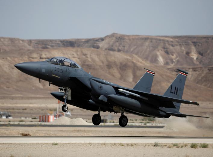 """A U.S. F-15 fighter jet takes off during an exercise dubbed """" Juniper Falcon"""", held between crews from the U.S. and Israeli air forces, at Ovda Military Airbase, in southern Israel May 16, 2017. Picture taken May 16, 2017. REUTERS/Amir Cohen"""
