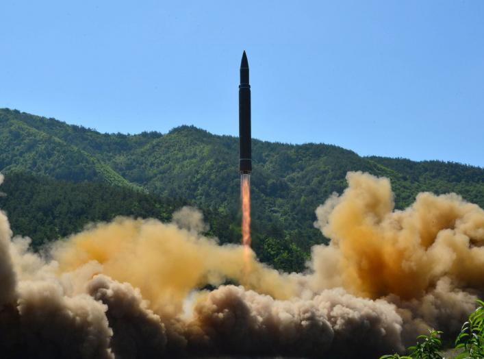 The intercontinental ballistic missile Hwasong-14 is seen during its test in this undated photo released by North Korea's Korean Central News Agency (KCNA) in Pyongyang, July 5 2017. KCNA/via REUTERS ATTENTION EDITORS - THIS IMAGE WAS PROVIDED BY A THIRD