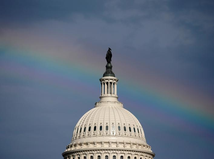 A rainbow shines over the U.S. Capitol in Washington, U.S. July 24, 2017. REUTERS/Joshua Roberts