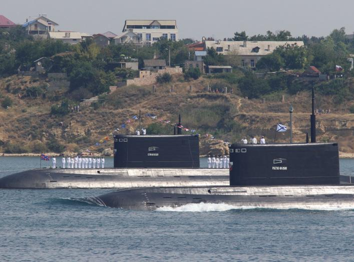 Russian submarines Rostov-on-Don and Stary Oskol sail during a rehearsal for the Navy Day parade in the Black Sea port of Sevastopol, Crimea, July 27, 2017. REUTERS/Pavel Rebrov
