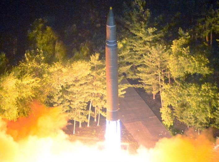 ntercontinental ballistic missile (ICBM) Hwasong-14 is pictured during its second test-fire in this undated picture provided by KCNA in Pyongyang on July 29, 2017.