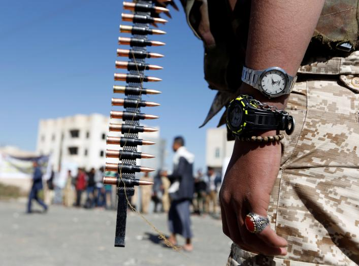 A Houthi militant takes part in a parade held to mark 1000 days of the Saudi-led military intervention in the Yemeni conflict, in Sanaa, Yemen December 19, 2017. REUTERS/Khaled Abdullah
