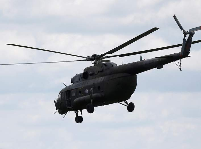 A Russian-made MI-17 helicopter of the Colombian army is seen flying in Meta, Colombia January 14, 2018.