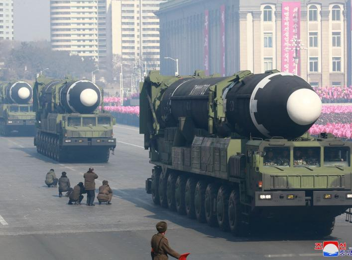 Intercontinental ballistic missiles are seen at a grand military parade celebrating the 70th founding anniversary of the Korean People's Army at the Kim Il Sung Square in Pyongyang, in this photo released by North Korea's Korean Central News Agency (KCNA)