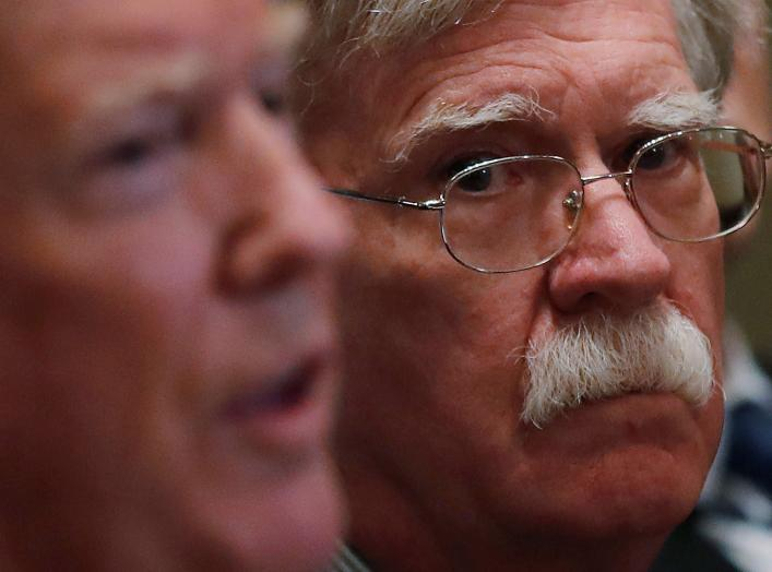 U.S. President Donald Trump receives a briefing from senior military leadership accompanied by his new National Security Adviser John Bolton at the Cabinet Room of the White House in Washington, DC, U.S.