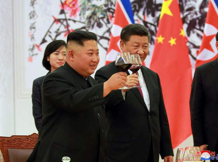 North Korean leader Kim Jong Un and Chinese President Xi Jinping raise a toast in Beijing, China, in this undated photo released June 20, 2018 by North Korea's Korean Central News Agency. KCNA via REUTERS ATTENTION EDITORS - THIS PICTURE WAS PROVIDED BY A