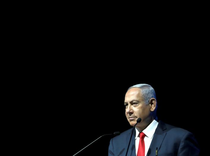 Israeli Prime Minister Benjamin Netanyahu speaks during the Cyber Week conference at Tel Aviv University, Israel, June 20, 2018. REUTERS/Ammar Awad