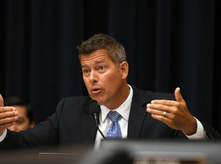 """Rep. Sean Duffy, R-WI, questions Federal Reserve Chairman Jerome Powell during his testimony before a House Financial Services Committee hearing on the """"Semiannual Monetary Policy Report to Congress"""", at the Rayburn House Office Building in Washington"""