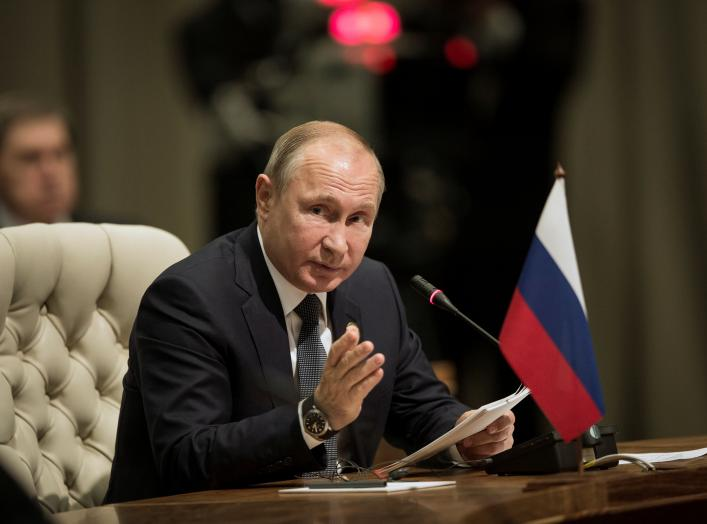 Russia's President Vladimir Putin speaks during the BRICS Summit in Johannesburg, South Africa, July 26, 2018. Gulshan Khan/Pool via REUTERS