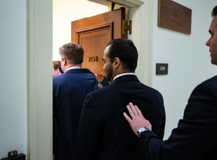 Former Trump campaign aide George Papadopoulos arrives to give a voluntary, transcribed interview behind closed doors before House Oversight and Judiciary Committee, on Capitol Hill, in Washington, U.S., October 25, 2018. REUTERS/Al Drago