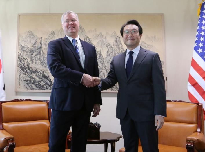 U.S. special representative for North Korea Stephen Biegun shakes hands with South Korea's Special Representative for Korean Peninsula Peace and Security Affairs Lee Do-hoon during a meeting to discuss North Korea nuclear issues at the Foreign Ministry in