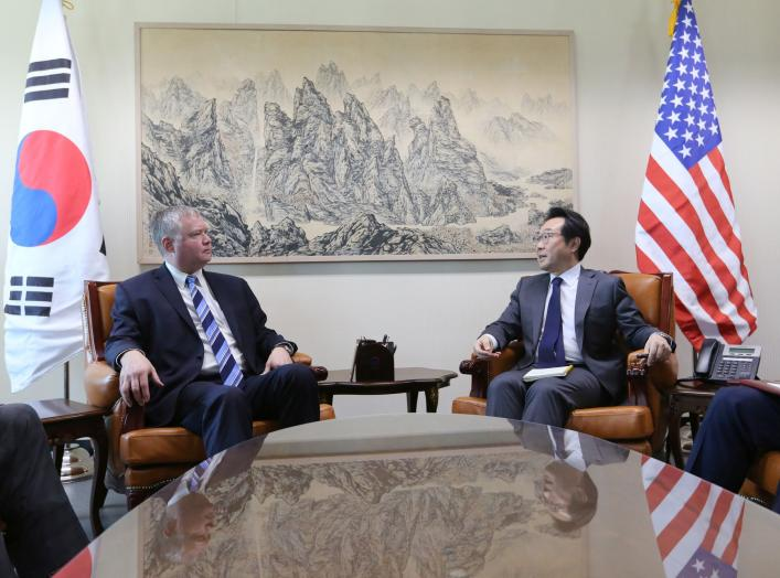 U.S. special representative for North Korea Stephen Biegun talks to South Korea's Special Representative for Korean Peninsula Peace and Security Affairs Lee Do-hoon during a meeting to discuss North Korea nuclear issues at the Foreign Ministry in Seoul, S