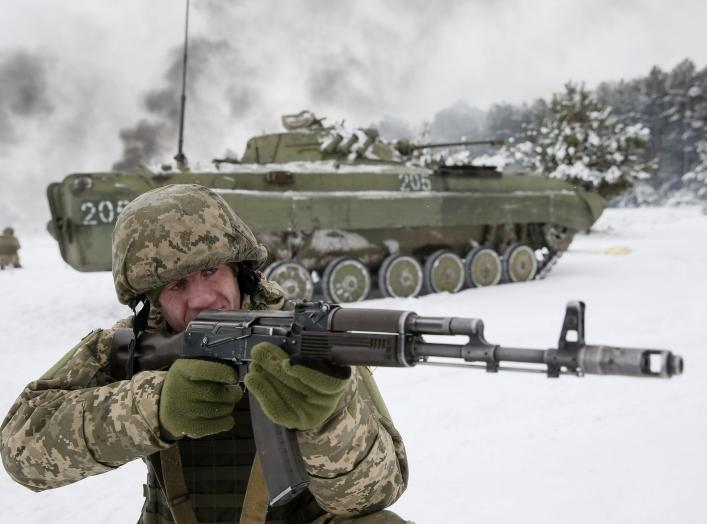 "An Ukrainian Army reservist takes part in military exercises at the Ukrainian Army training centre ""Desna"" in Chernihiv region, Ukraine December 19, 2018. REUTERS/Valentyn Ogirenko"