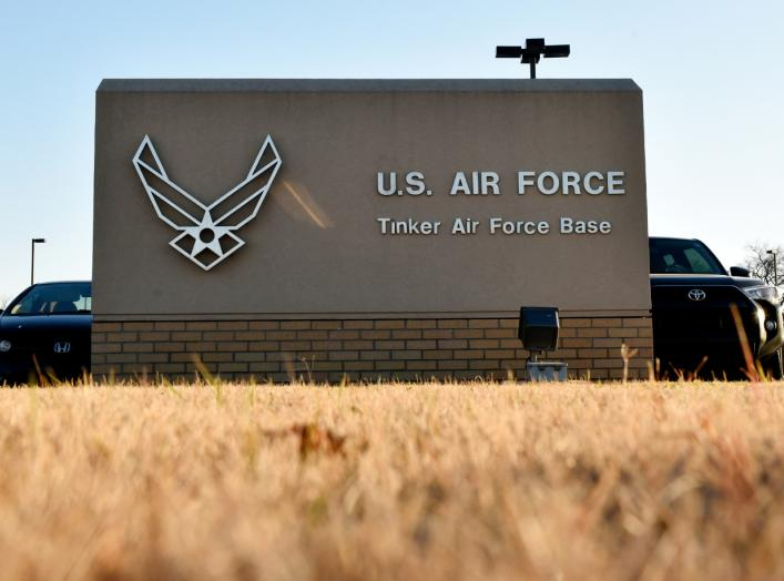An entry gate is seen at Tinker Air Force Base, Oklahoma, U.S. November 26, 2018. Picture taken November 26, 2018. To match Special Report USA-MILITARY/CONSTRUCTION REUTERS/Nick Oxford
