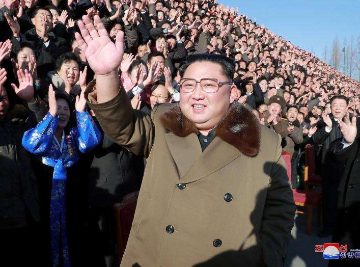 North Korean leader Kim Jong Un meets with participants in the 4th National Meeting of Activists in Agricultural Field in Pyongyang, North Korea, in this undated picture released by North Korea's Korean Central News Agency (KCNA) on December 28, 2018. KCN