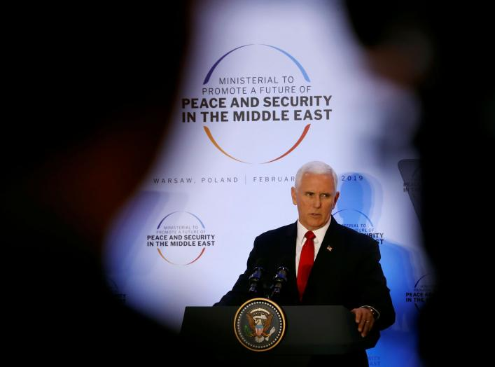U.S. Vice President Mike Pence delivers a speech during the Middle East summit in Warsaw, Poland, February 14, 2019. REUTERS/Kacper Pempel
