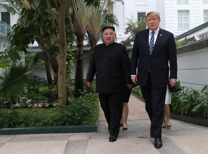 orth Korean leader Kim Jong Un and U.S. President Donald Trump walk in the garden of the Metropole hotel during the second North Korea-U.S. summit in Hanoi, Vietnam February 28, 2019. REUTERS/Leah Millis