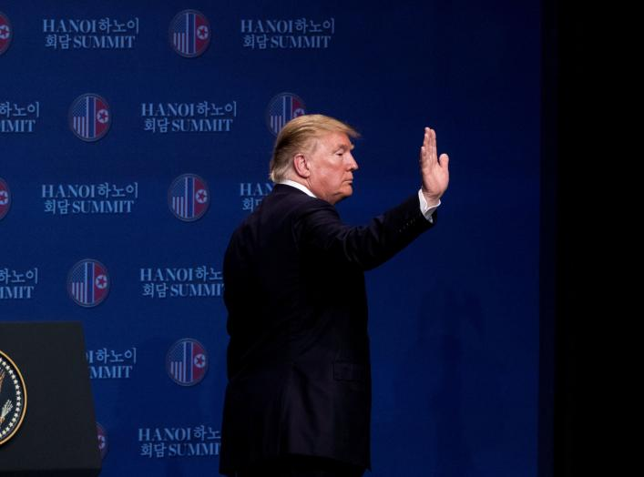 U.S. President Donald Trump waves as he leaves a news conference at the JW Marriott Hanoi, following talks with North Korean leader Kim Jong Un in Hanoi, Vietnam, February 28, 2019. Andrew Harnik/Pool via REUTERS